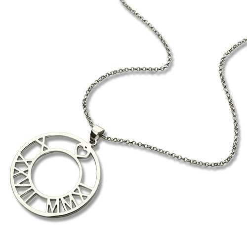 Circle Roman Numeral Disc Necklace Sterling Silver