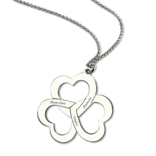 Nexus 20 Triple Bar Pendant: Triple Heart Name Necklace Silver Engraved Birthstone