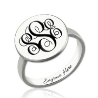 Engraved Monogram Signet Ring Sterling Silver