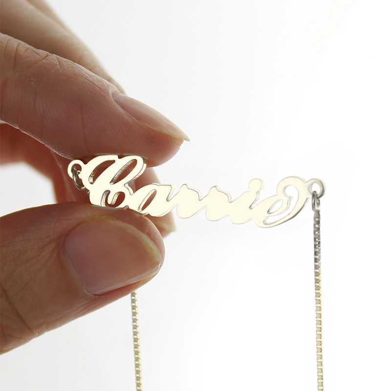 Personalized Carrie Name Necklace Silver - Box Chain