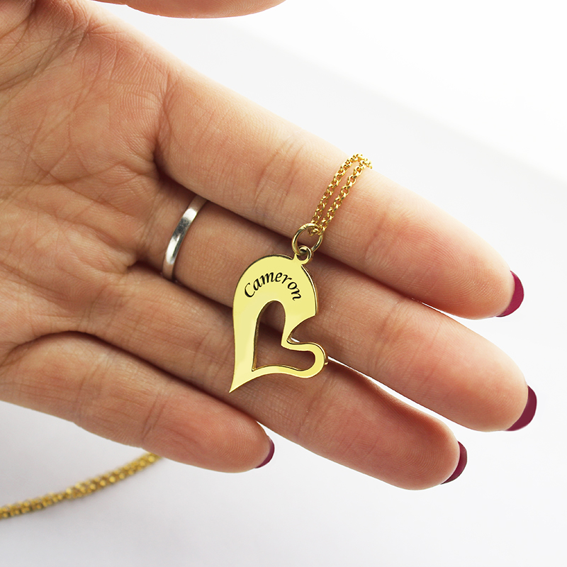 Double Name Heart Friend Necklace Couple Necklace Set 18K Gold Plated
