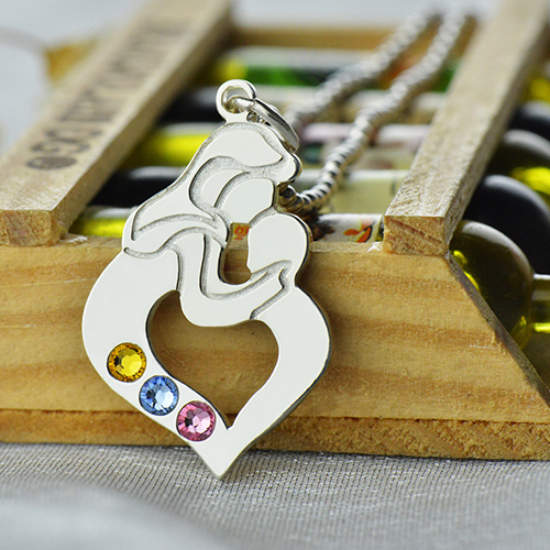 Personalized Mother Child Necklace with Birthstone Silver