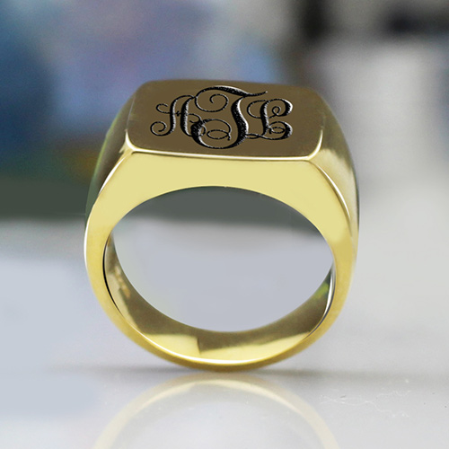 Custom 18K Gold Plated Monogram Signet Ring