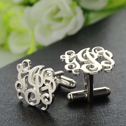 personalized cufflinks with monogram sterling silver