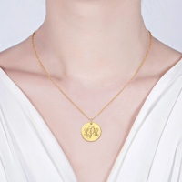 Disc Script Monogram Necklace 18K Gold Plated