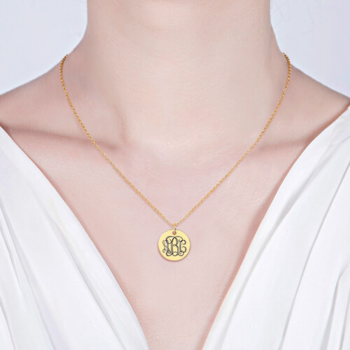 engraved monogram necklace