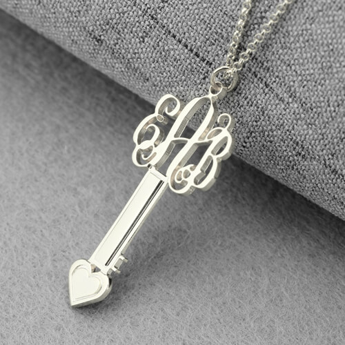 Personalized Key Necklace Sterling Silver with Monogram