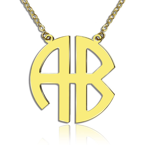 18K Gold Plated 2 Letters Capital Monogram Necklace