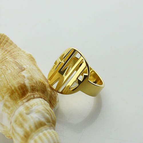 Personalized Gift For Him Block Monogram Ring 18k Gold