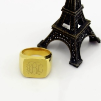 18K Gold Plated Fashion Monogram Initial Ring