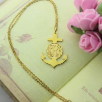 18K Gold Plated Anchor Monogram Initial Necklace