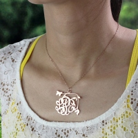 Butterfly and Vines Monogrammed Necklace Rose Gold