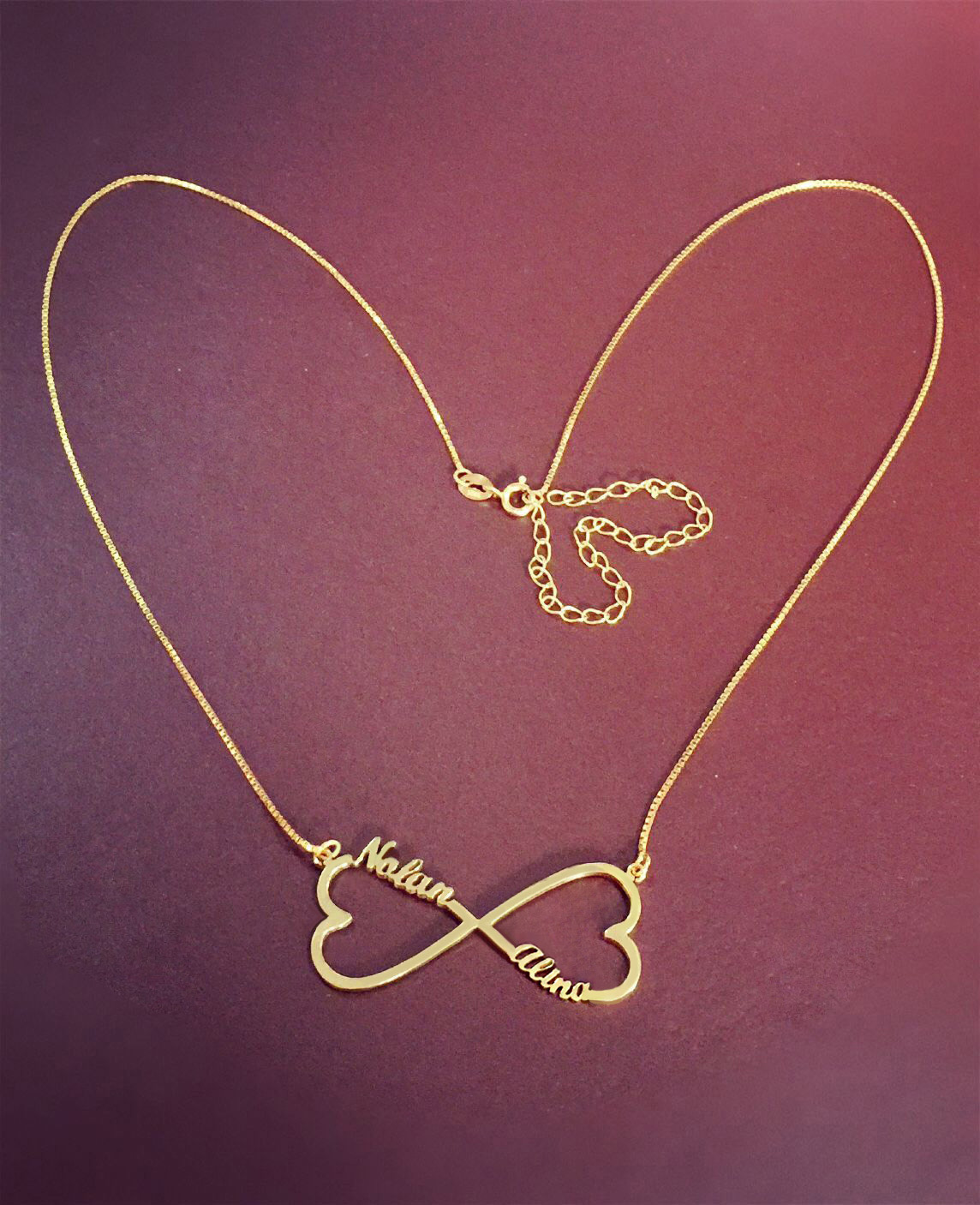18k Gold Plated Heart Infinity Name Necklace