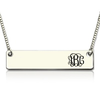 Engraved Monogram Initial Bar Necklace Sterling Silver