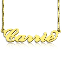 Personalized Carrie Name Necklace & Box Chain Gold Plated 925 Silver