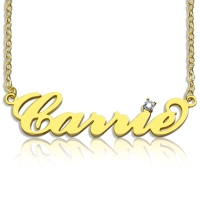 Personalized Gold Carrie Style Name Necklace With One Birthstone