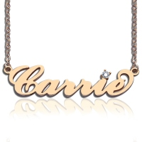 Personalized Rose Gold Carrie Style Name Necklace With One Birthstone