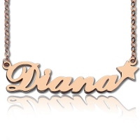 Rose Gold Carrie Style Name Neckalce With Star