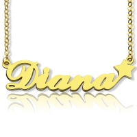 Solid Gold Carrie Style Name Necklace With Star
