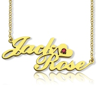 Two-Row Letter Carrie Style Name Necklace Gold Plated