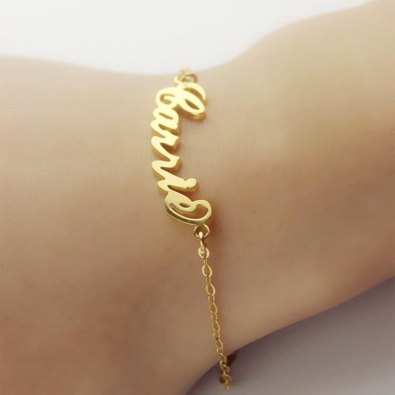 Personalized 18k Gold Plated Carrie Name Bracelet