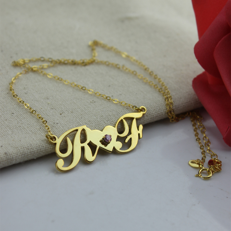 18k gold plated two initials necklace