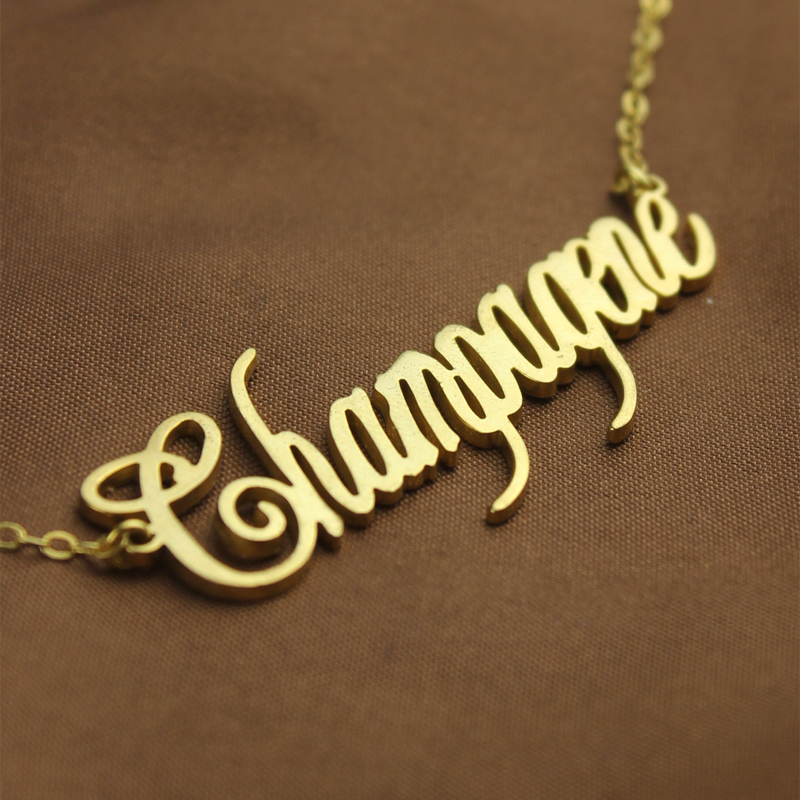 Gold Personalized Champagne Font Name Necklace