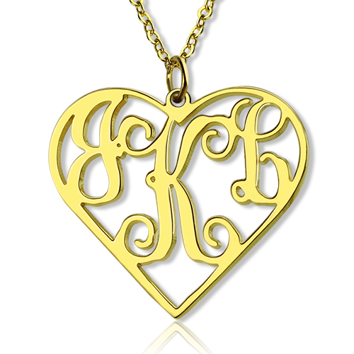 solid gold initial monogram personalized necklace