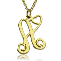 Single Letter Monogram With Heart Necklace In Gold