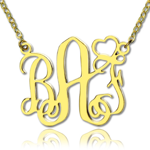 Personalized Initial Monogram Necklace With Heart 18K Gold Plated