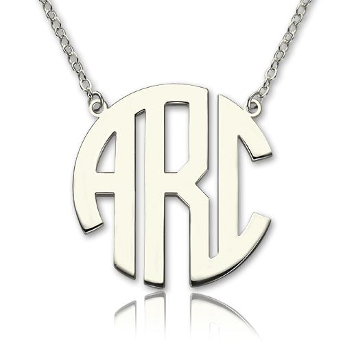 solid white gold initial block monogram necklace. Black Bedroom Furniture Sets. Home Design Ideas
