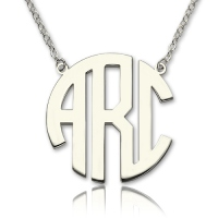 Sterling Silver Block Monogram Pendant Necklace