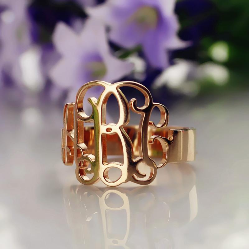 personalized rose gold monogram ring. Black Bedroom Furniture Sets. Home Design Ideas