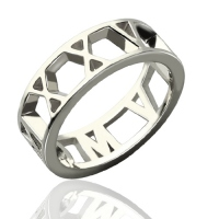 Personalized Roman Numerals Open Rings Sterling Silver