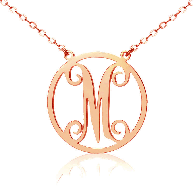 Rose gold one initial circle monogram necklace for Rose gold personalized jewelry