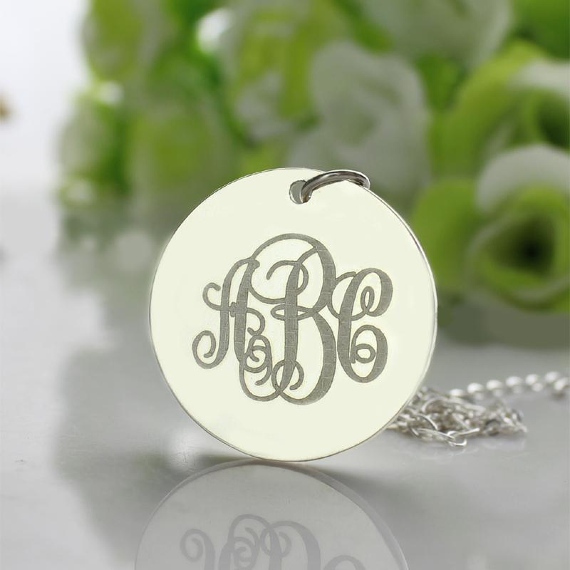 engraved disc monogram necklace sterling silver