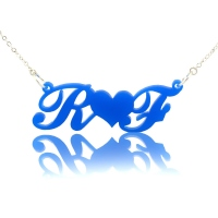 Acrylic Carrie Style Two Letters Necklace with Heart