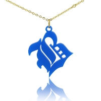 Colorful Acrylic Men's Initial Necklace Old English