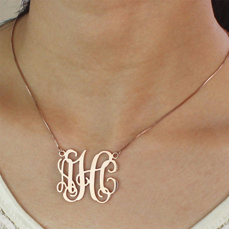 Personalized rose gold monogram pendant necklace for Rose gold personalized jewelry