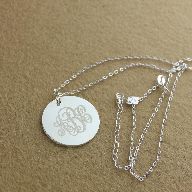 solid white gold vine font disc engraved monogram necklace. Black Bedroom Furniture Sets. Home Design Ideas