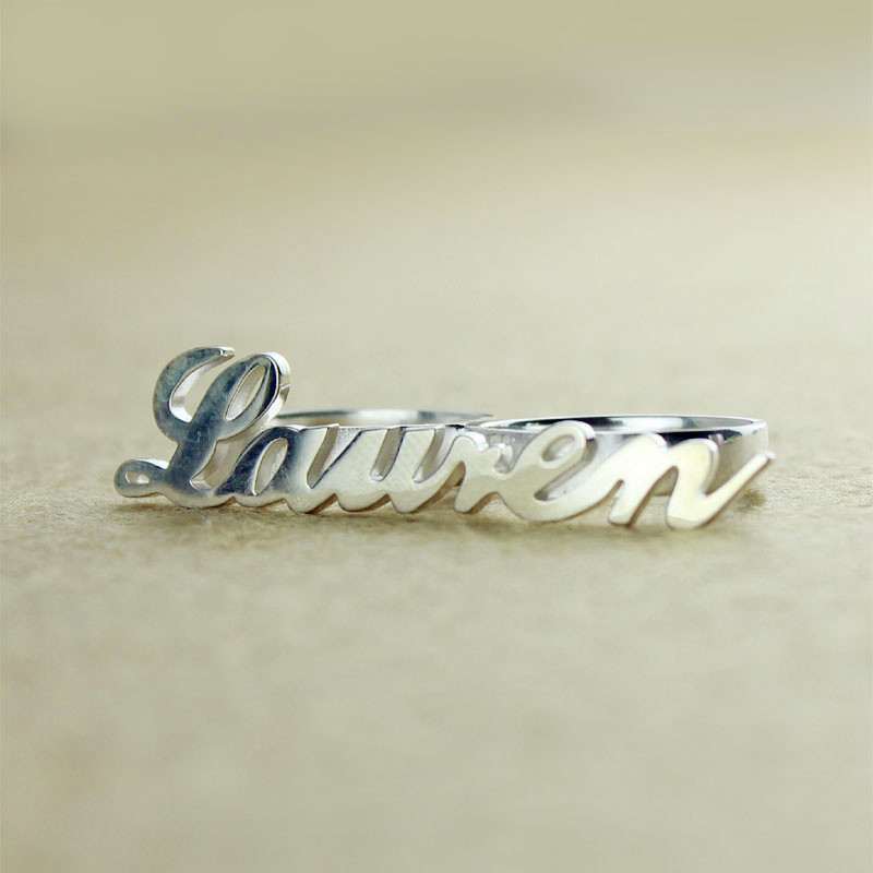 personalized allegro two finger name ring sterling silver