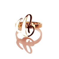 "Carrie Style Custom Initial Ring - 0.59"" Rose Gold Plated Silver"