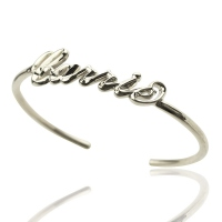 Personalized Three Dimensional CARRIE Style Name Bracelet Silver