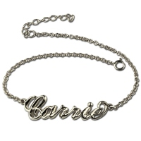 Personalized 3D Carrie Style  Bracelet With Your Name Silver