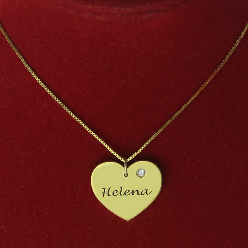 simple heart necklace with name amp birhtstone 18k gold plated