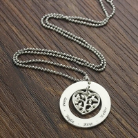 Personalized Heart Family Tree Necklace Sterling Silver