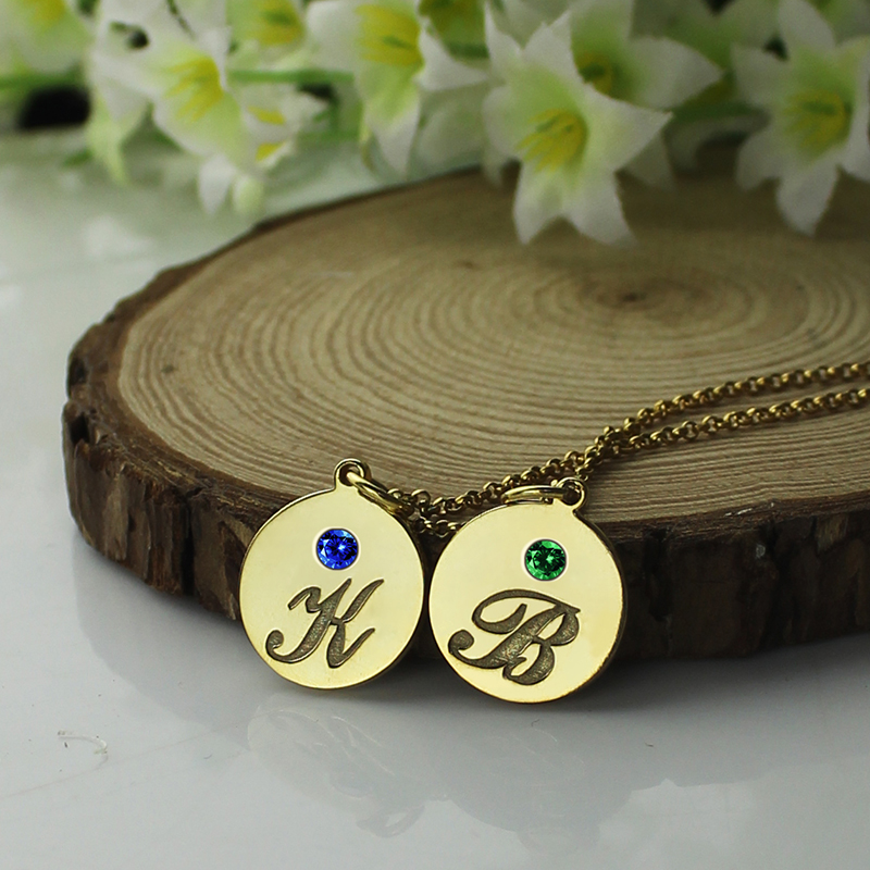 engraved initial  u0026 birthstone disc charm necklace 18k gold plated