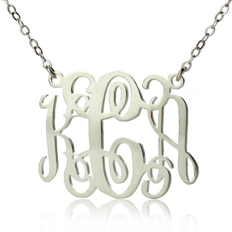 alexis bellino style monogram necklace solid white gold. Black Bedroom Furniture Sets. Home Design Ideas