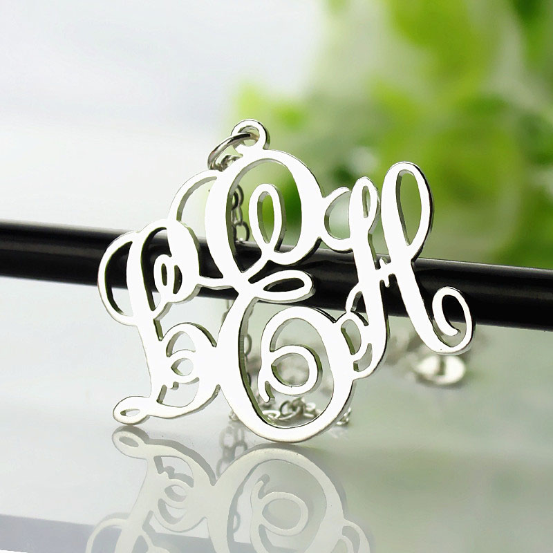 Personalized Vine Font Initial Monogram Necklace Solid