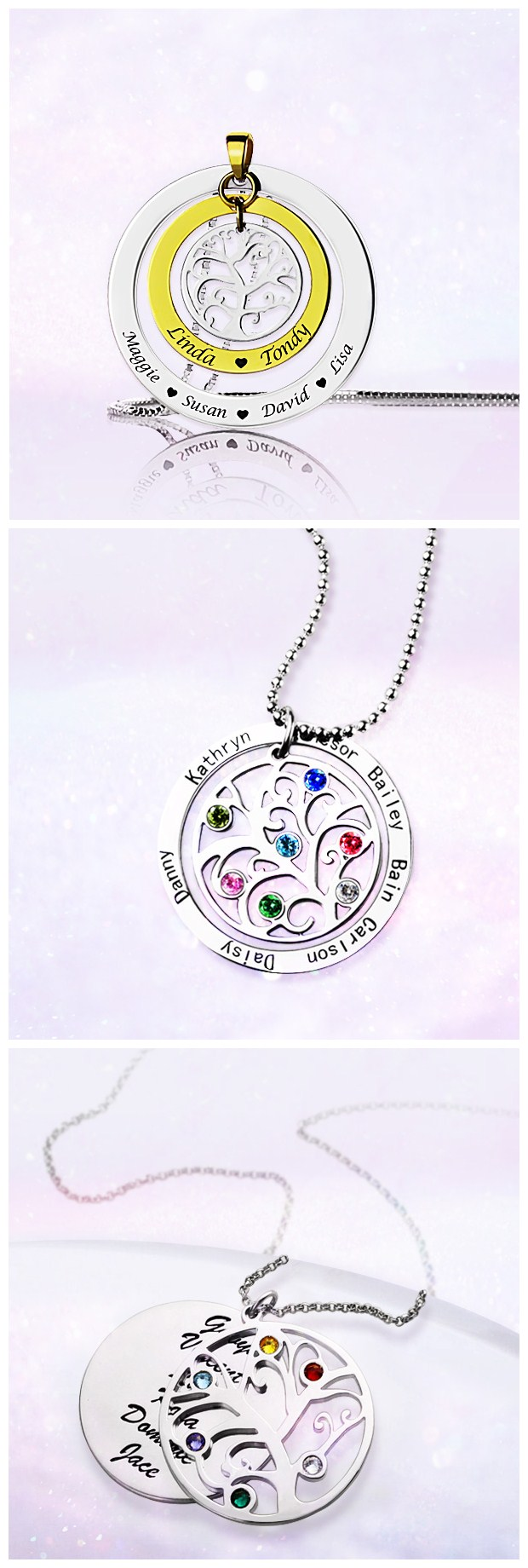 Grandmother Necklace Grandma Family Tree Names Necklace